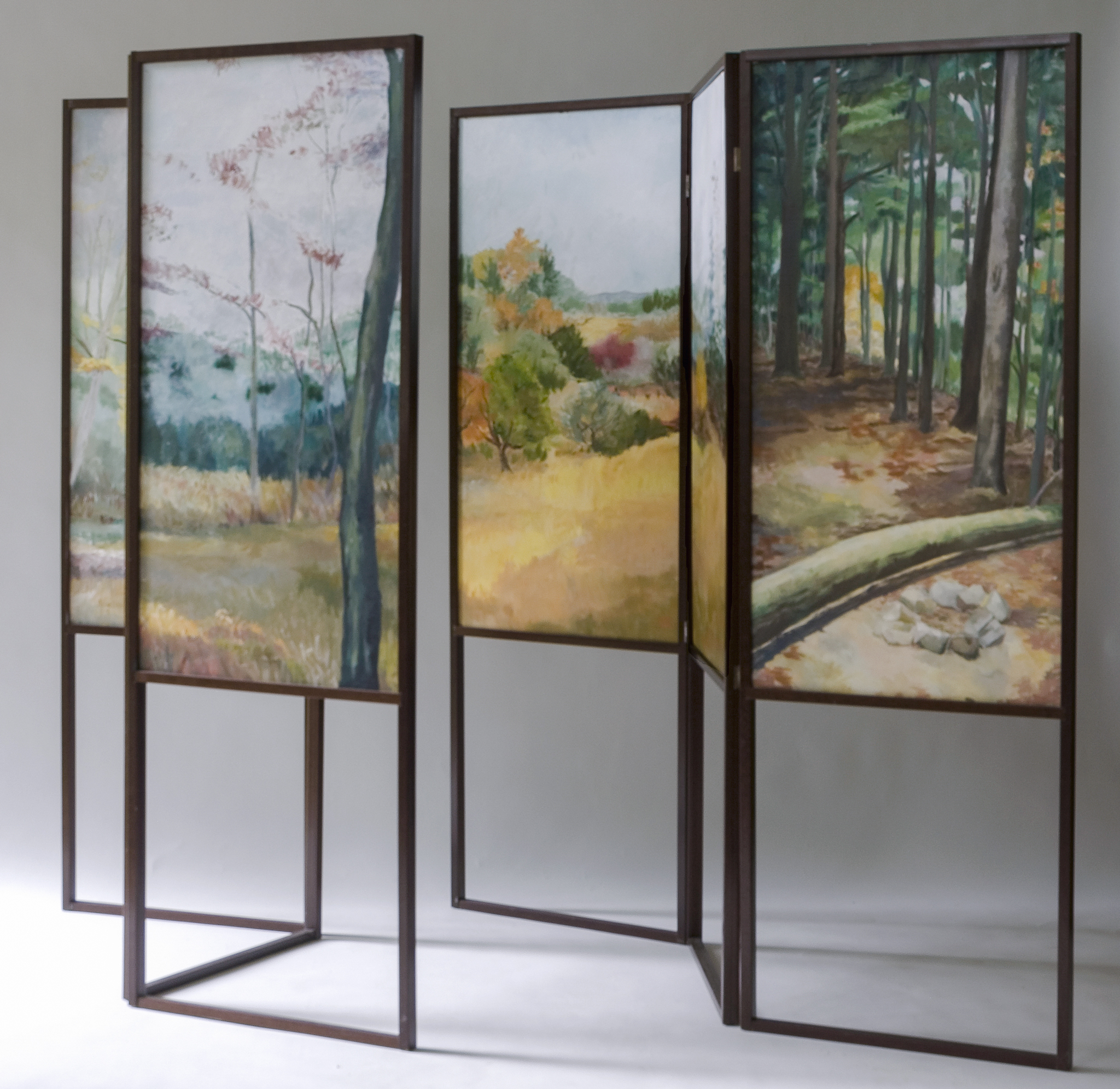 """Two Walks to the Same Place  oil/paper/wood 36 x 72"""" (two screens, six paintings on each)"""
