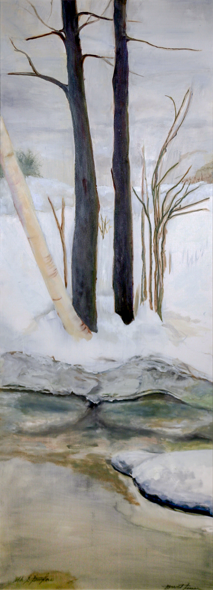 Snow V  (one of a six-panel screen) oil/paper/wood