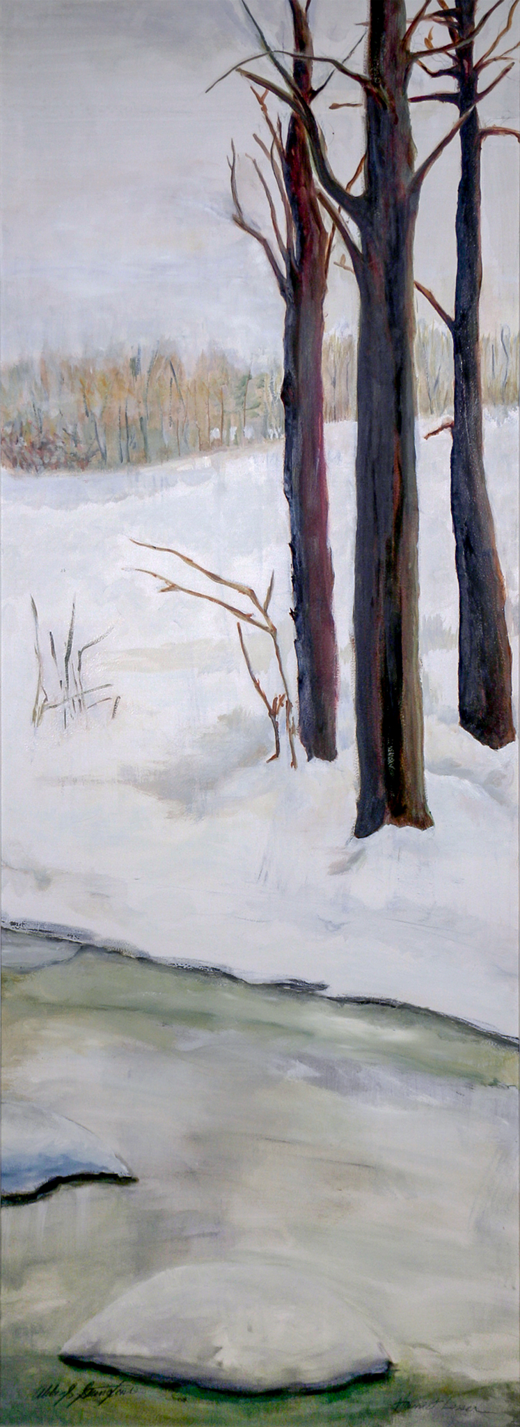 Snow IV  (one of a six-panel screen) oil/paper/wood