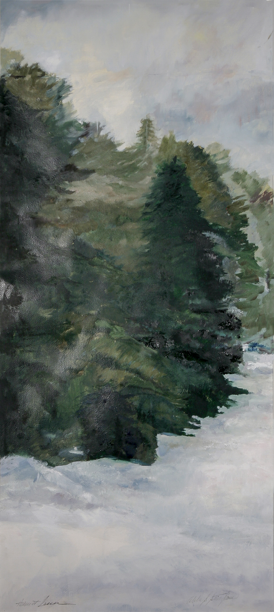 Snow Dark Trees  (one of a six-panel screen) oil/paper/wood