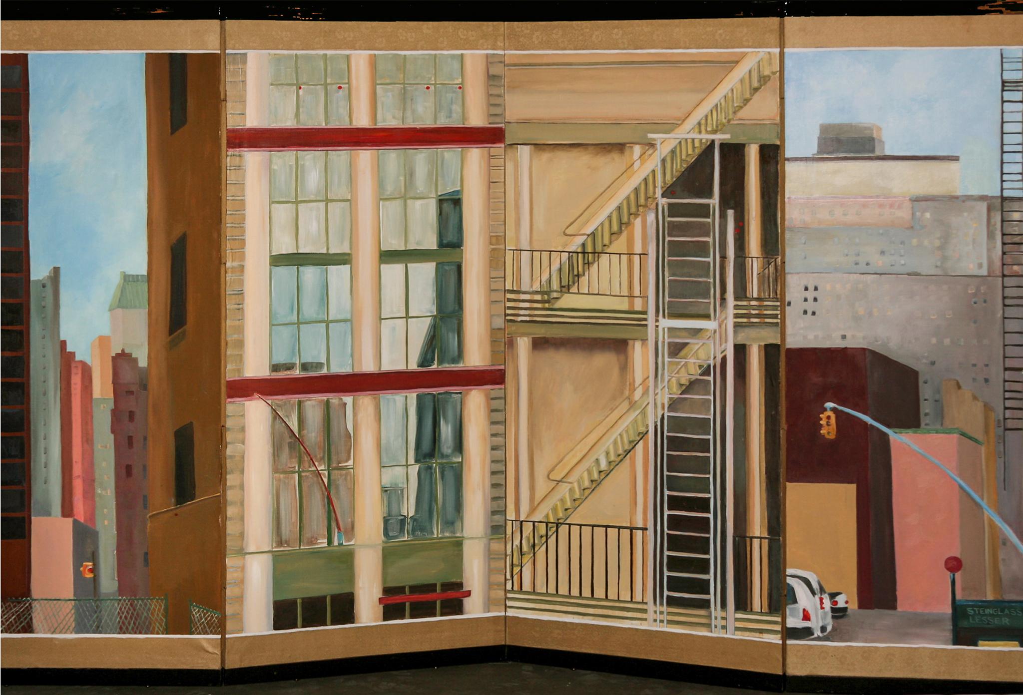 "Downtown: New York  oil on silk folding-screen 36 x 72"""