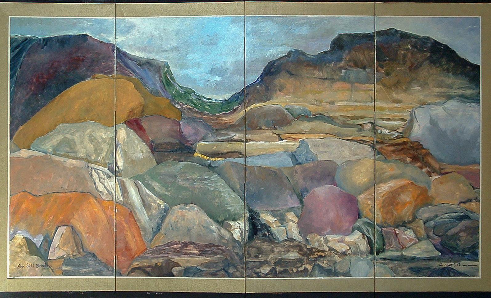 Boulders  oil on silk folding-screen 36 x 72