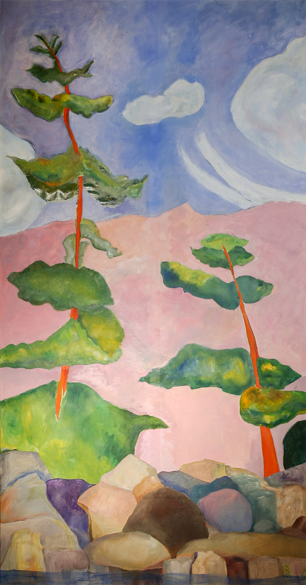 """Pink with Trees  oil/paper/collage 72 x 36"""""""