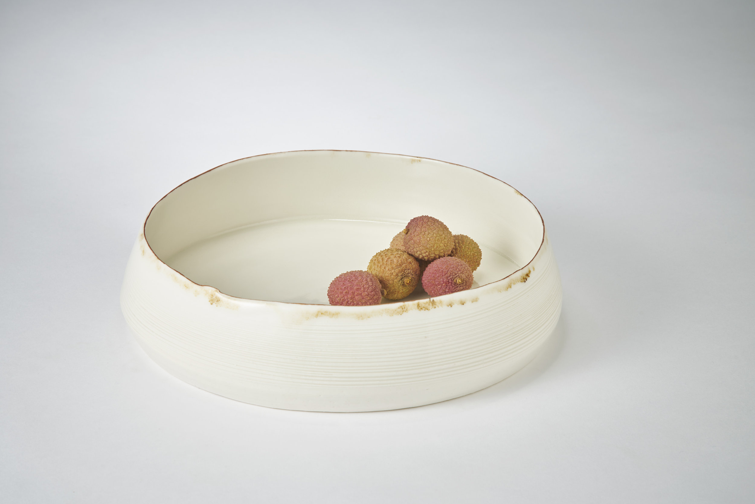 Kirsty Adams porcelain large textured flat shallow bowl with free edge 25cm x 8cm, Photography Matthew Booth.jpg