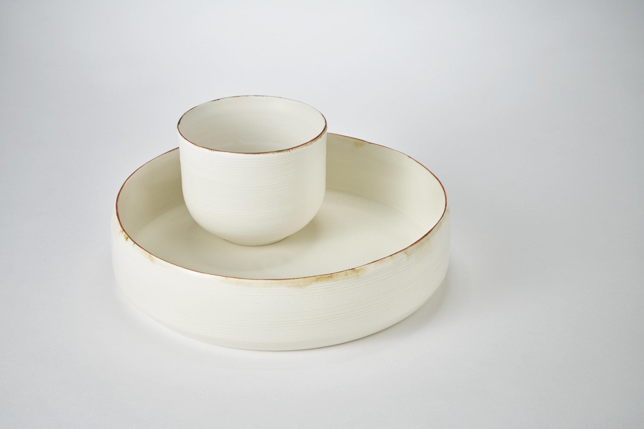 Kirsty Adams Ceramics porcelain flat shallow bowl 25cm x 6cm, dol and tin medium bowl 11.5cm x9cm. Photography Matthew Booth.jpg