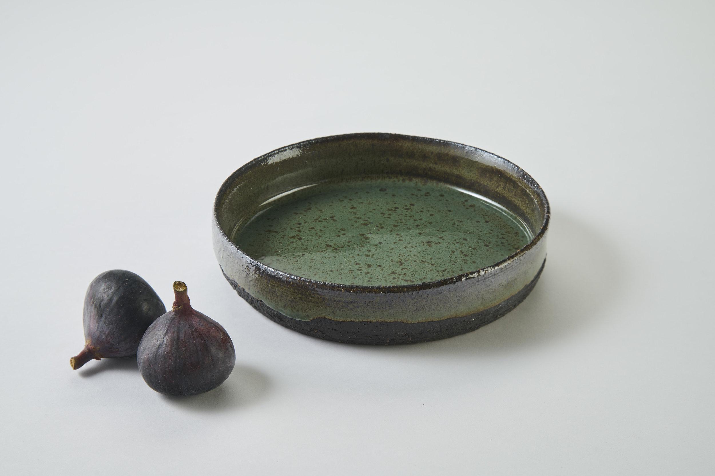 KA Ceramics small black stoneware small dish, copper green gloss, 5.5cm x 3.5cm.jpg