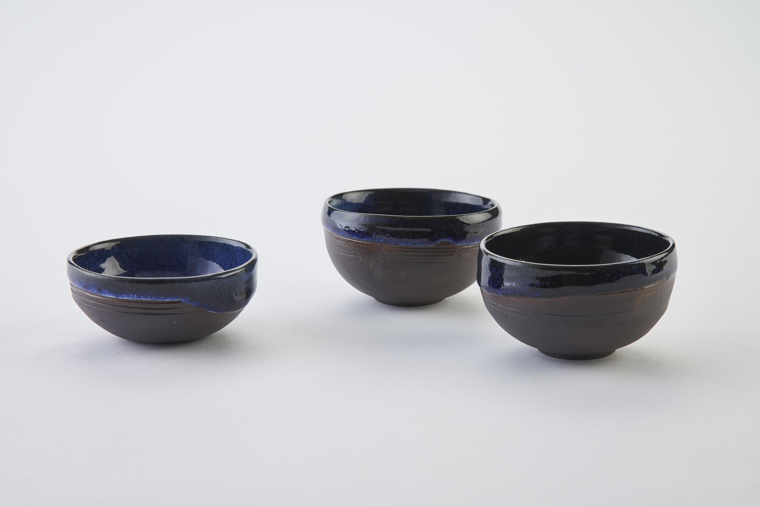 KA Ceramics Black Onyx porcelain salt bowls (7.5cm x 4cm) and chilli bowls (3cm x 7cm) cobalt blue, dolomte and tin layered glaze. Matthew Booth photography.jpg