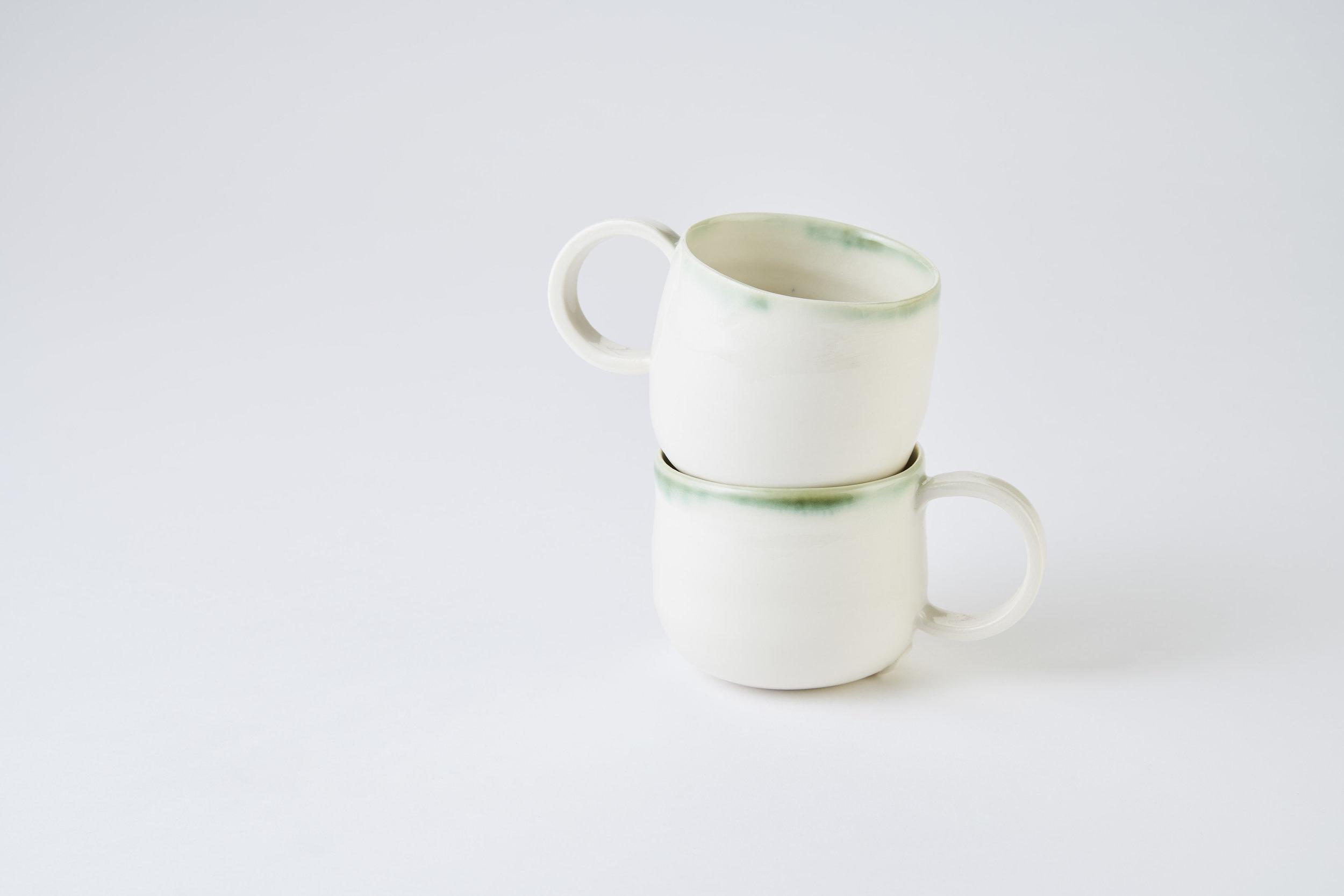KA ceramics copper green rim cups with handles. Matthew Booth Photography.jpg