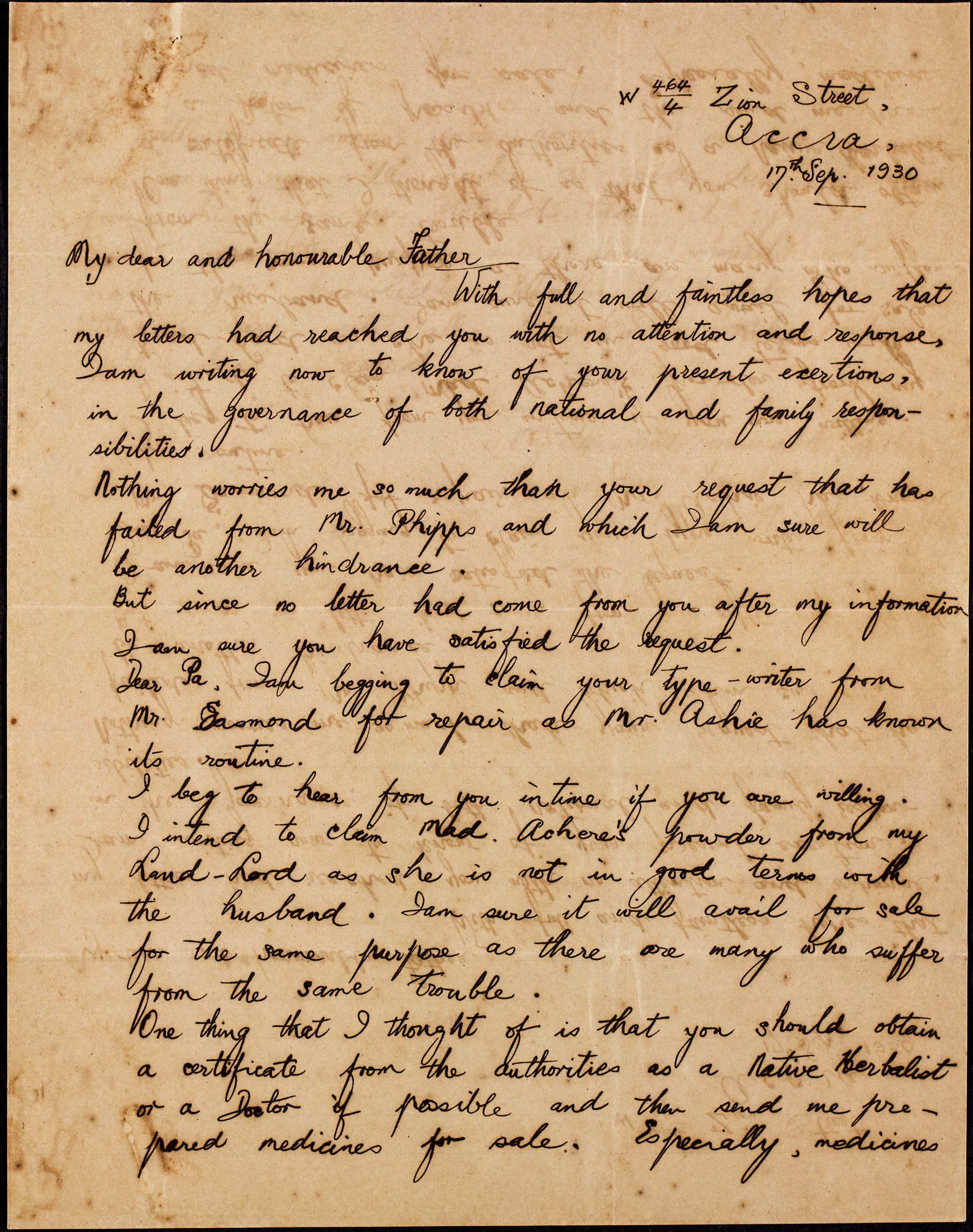 Letter from Moses Adamah Jnr to Togbui Adamah II