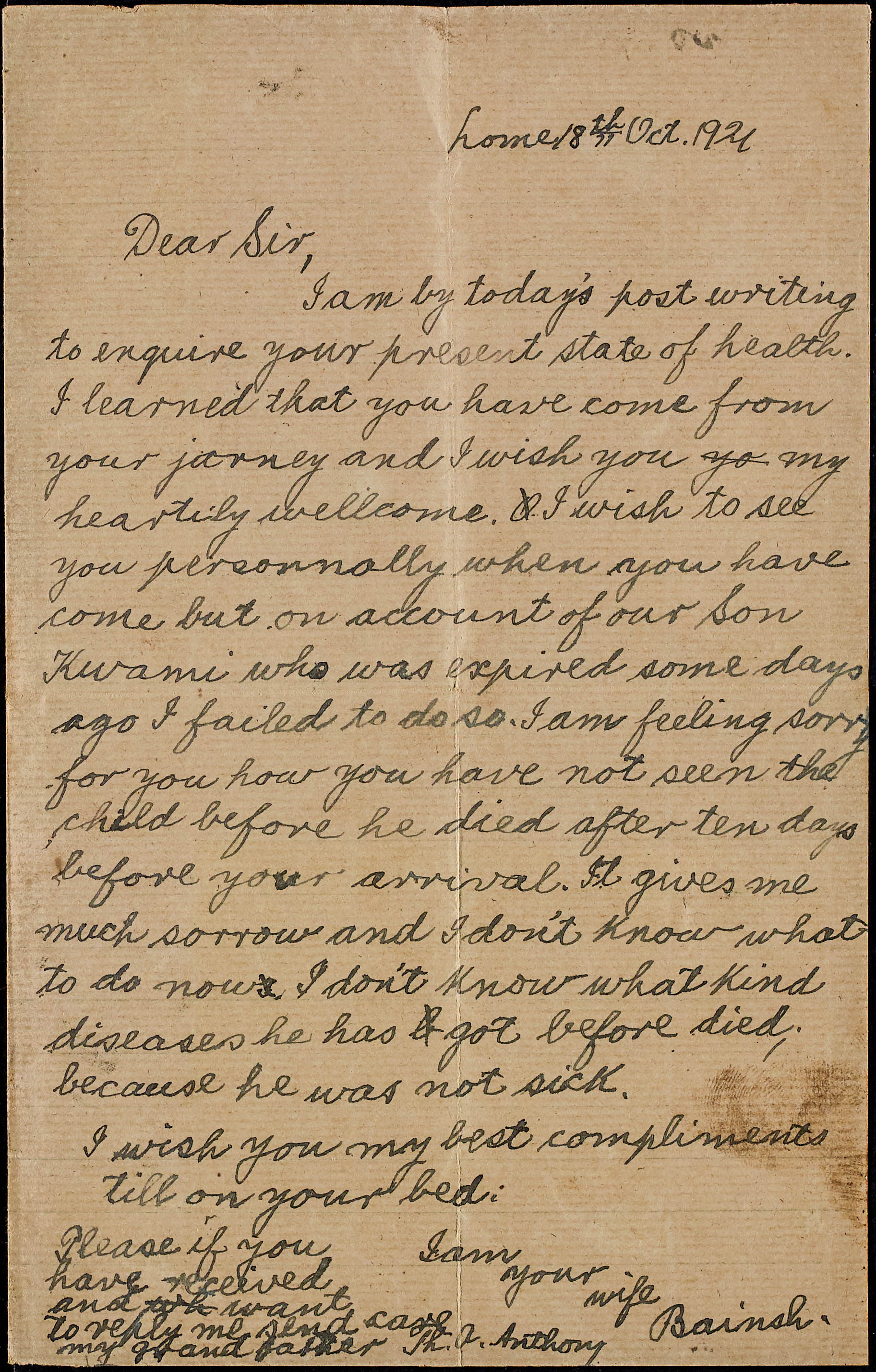 Letter from his wife Bainsh