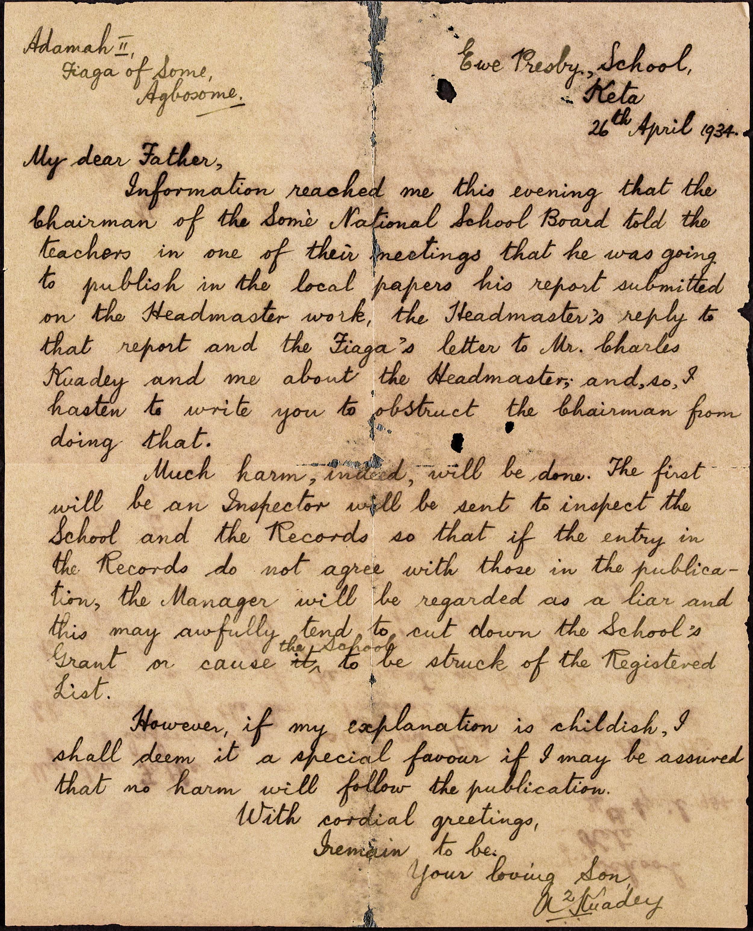 Letter to Togbui Adamah II