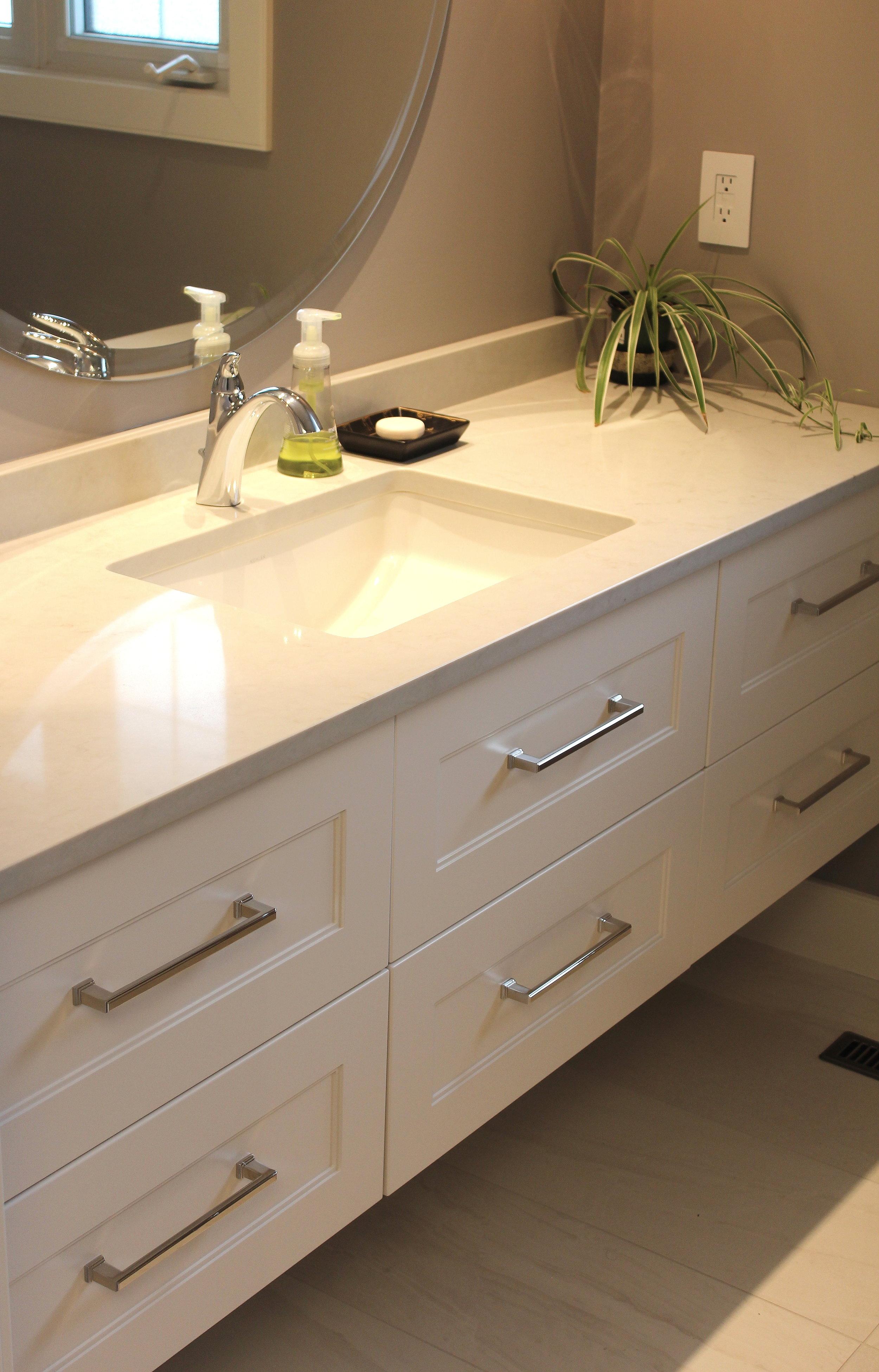Floating white shaker vanity