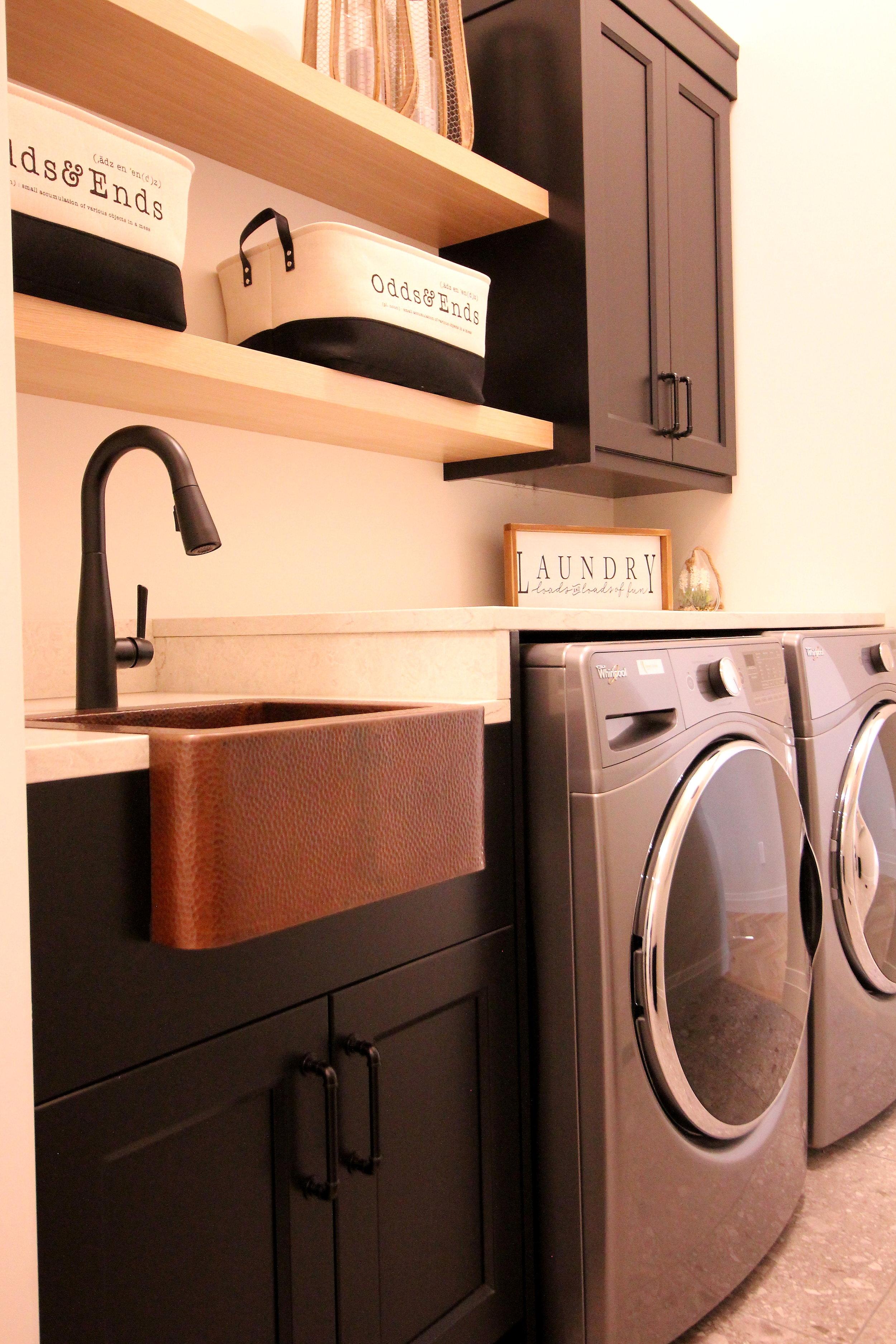 Copper sink, white oak, quartz countertop, black forest green, benjamin moore