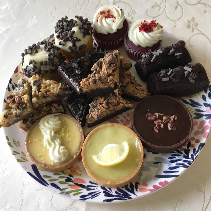 Red Velvet Cupcake, Chocolate Stout Cake, Chocolate Caramel Tart, Lemon Tart, Key Lime Tart, Magic Bar, Cannoli Cupcake, Oreo Brownie and Peanut Butter Brownie