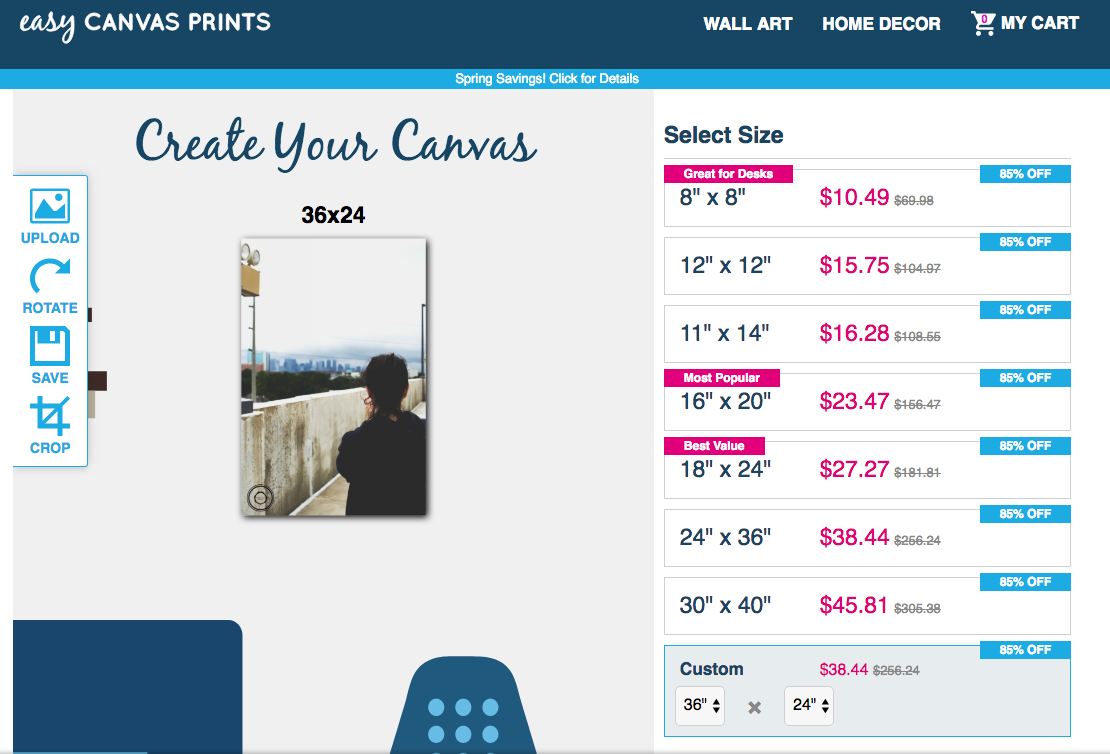 This is a sample canvas design screen. That's me up there! Check out those price cuts though.