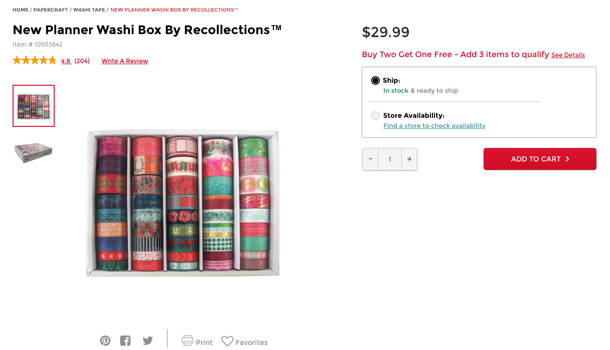 Photo from Michaels. Click to view Planner Washi Box.