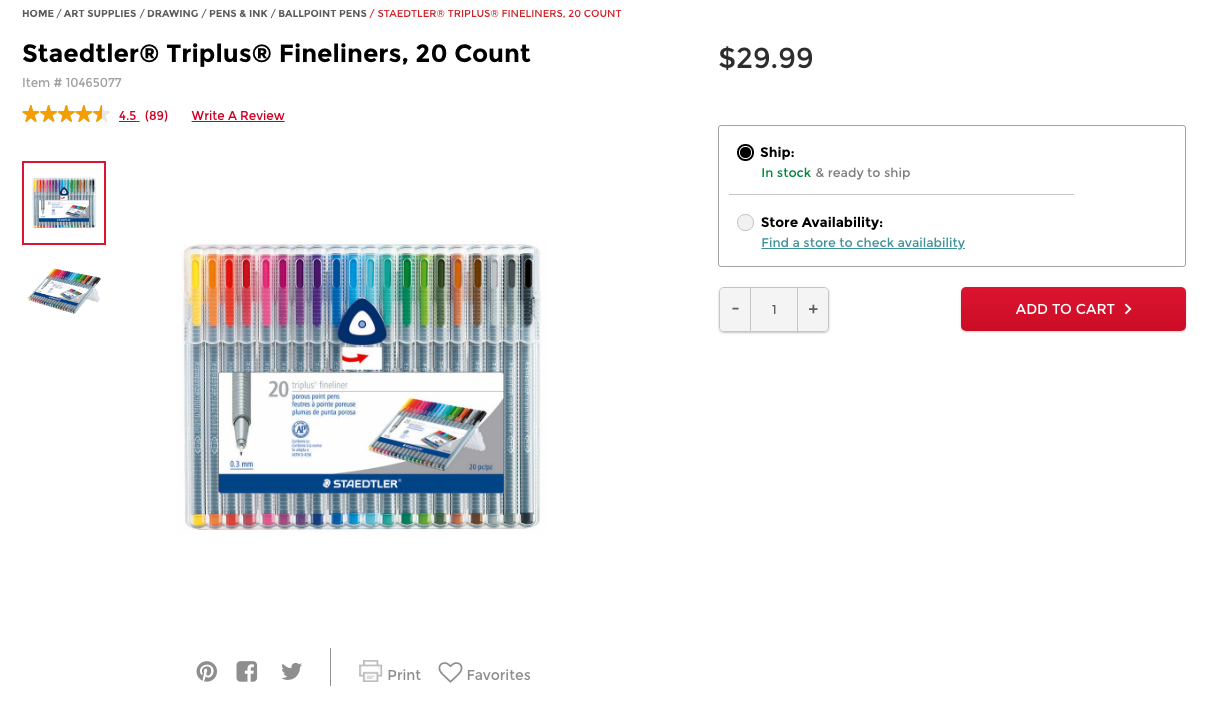 Photo from Michaels. Click to view Staedtler Fineliner Pens.