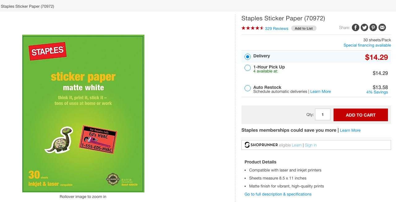 Photo from Staples. Click to view Sticker Paper Full Sheet.