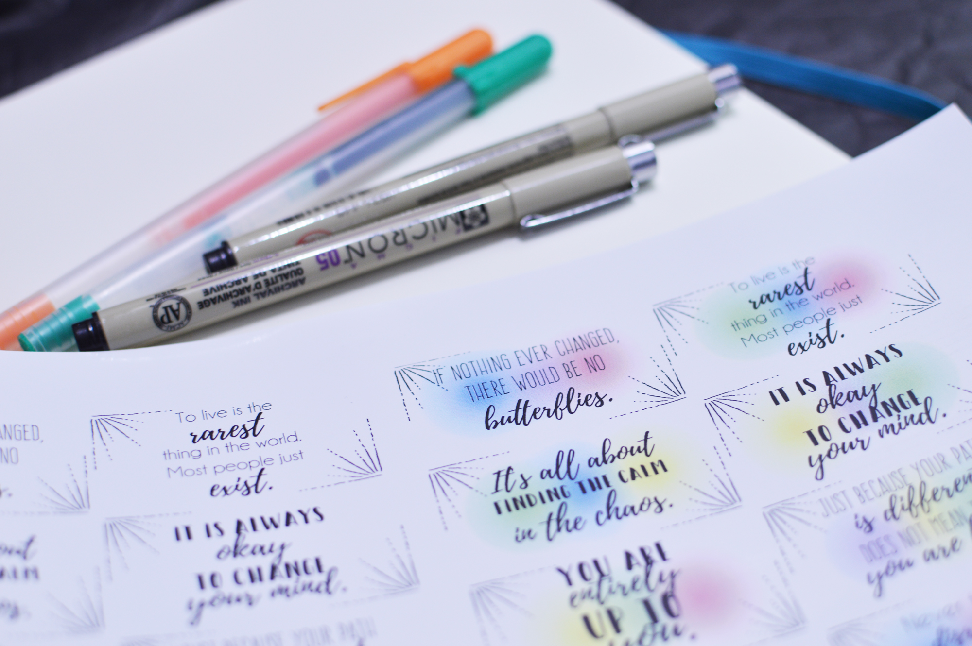 10 Quotes, 1 set of black and white and 1 set of color.