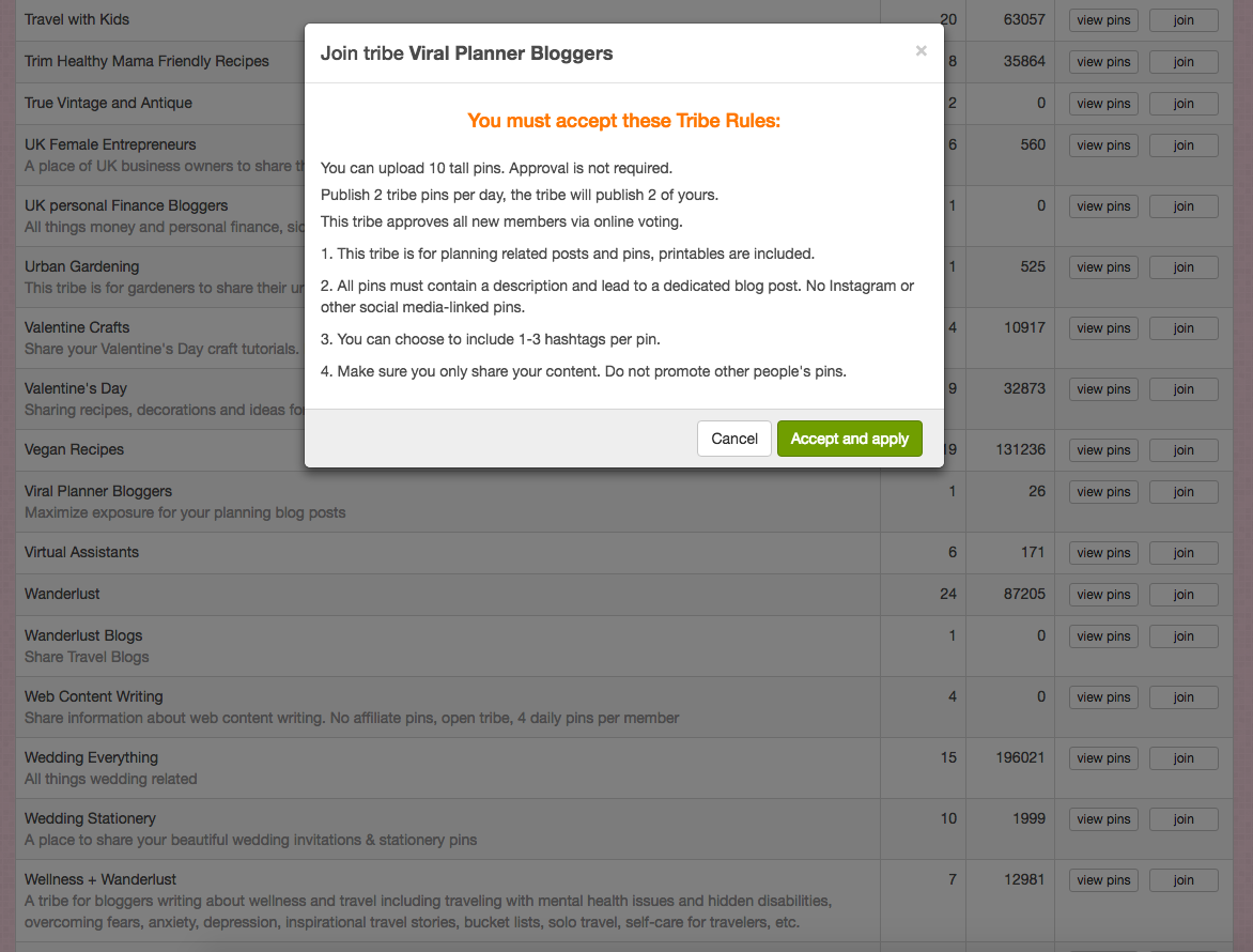 When you click Join, you'll see a notice pop up. Read the rules and click Accept and Apply. Tribe creators can set their Tribe rules to require other members to vote for approval before new members can join. If you need to wait for approval, you'll get an email when the Tribe votes to approve you.