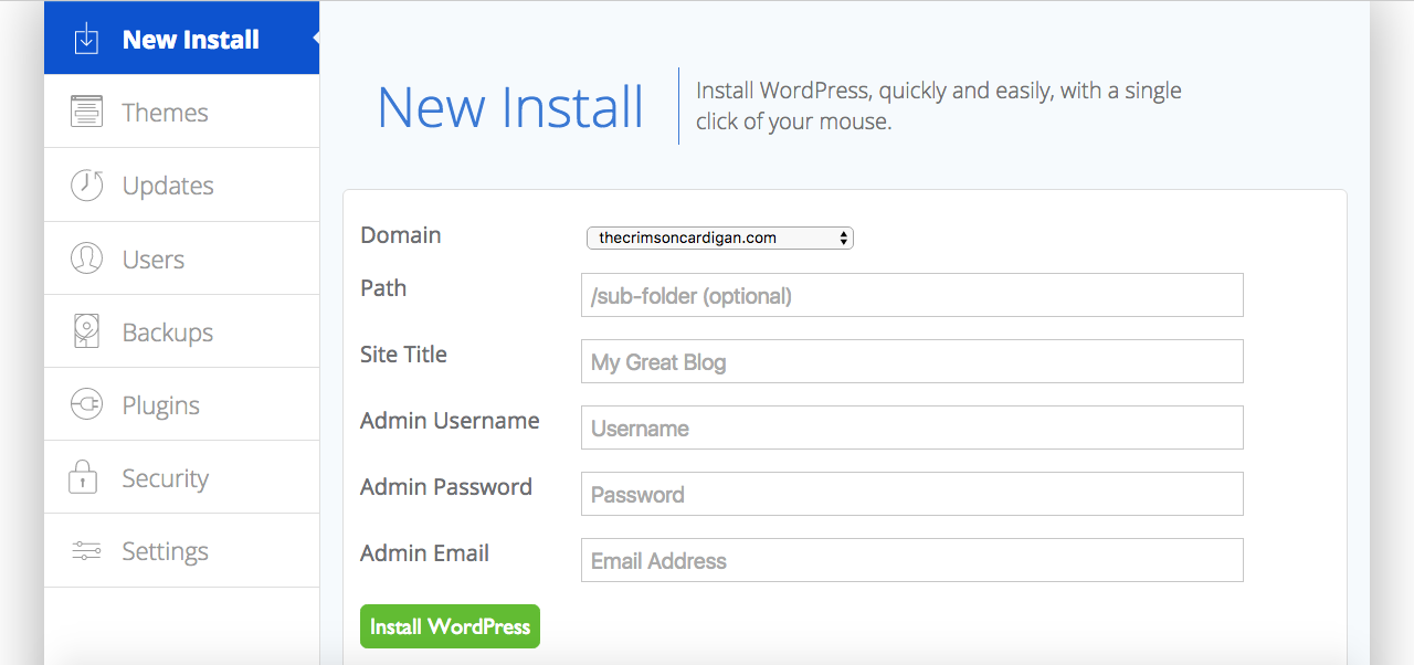 Select New Install. Enter the information here. Don't change the Path. Click Install WordPress.