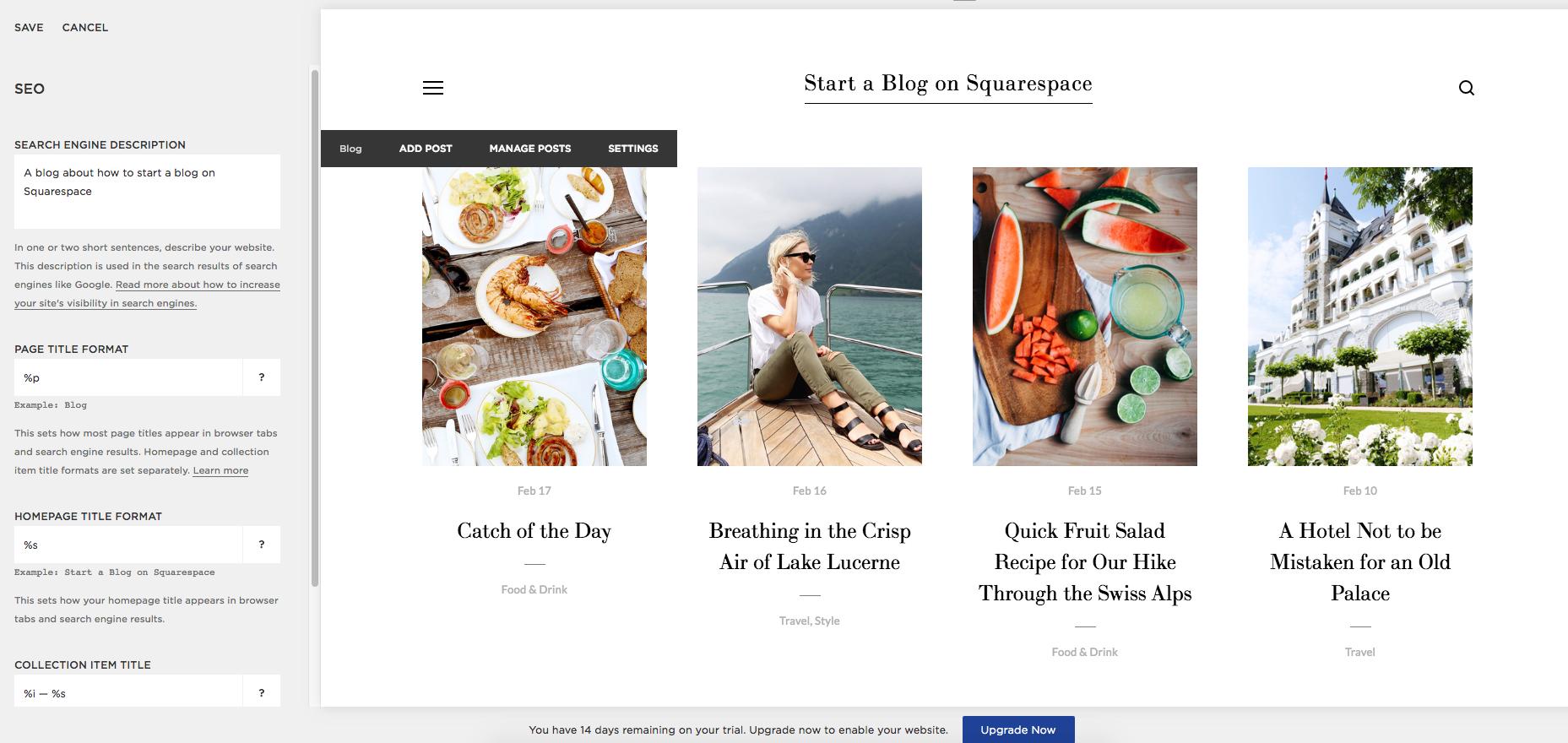 Settings > SEO > Write a keyword rich description of your blog.