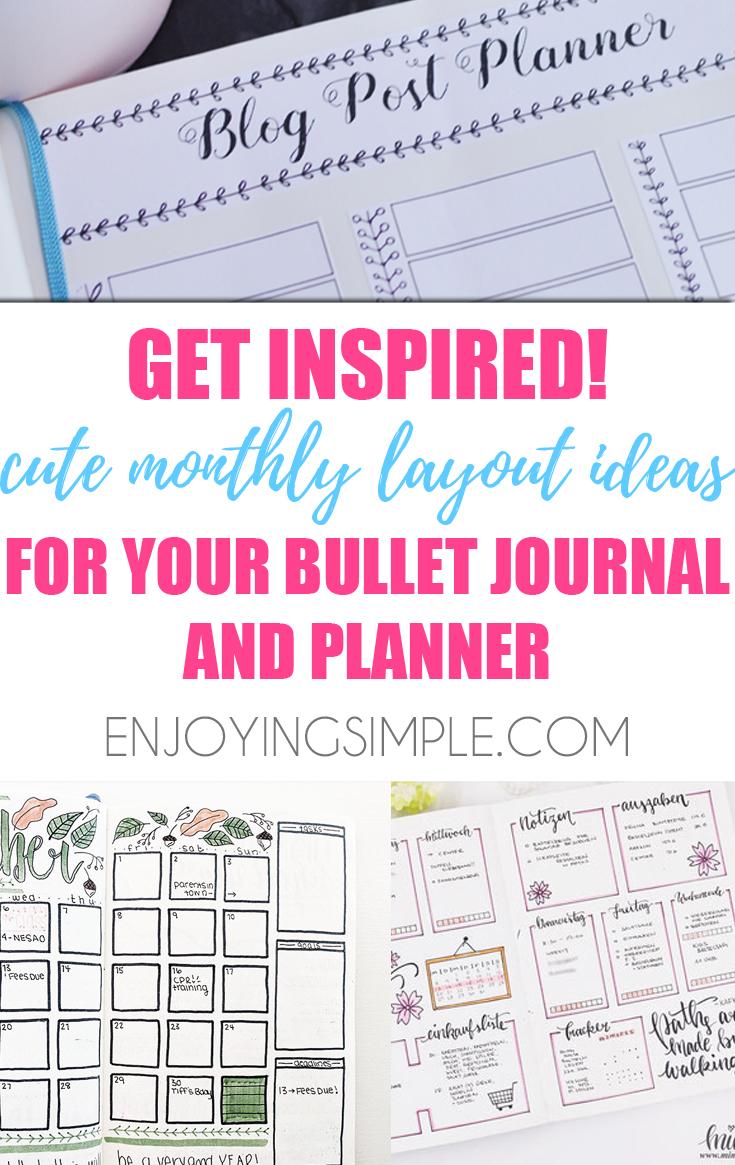 MONTHLY BULLET JOURNAL SPREAD IDEAS