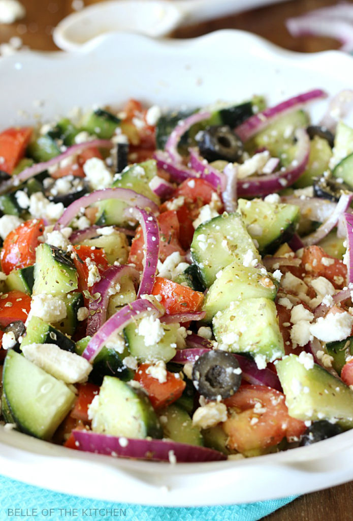 BELLE OF THE KITCHEN'S CUCUMBER GREEK SALAD. CLICK FOR FULL POST AND RECIPE.