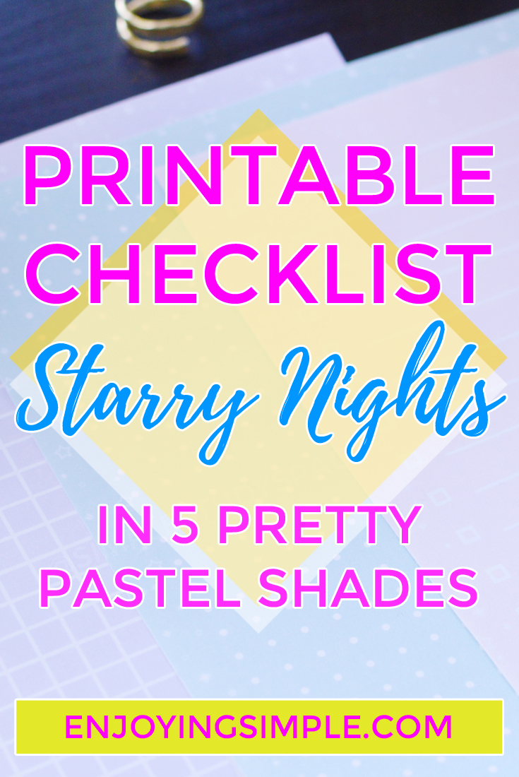 Stationery: Printable Checklist in My Starry Nights Theme
