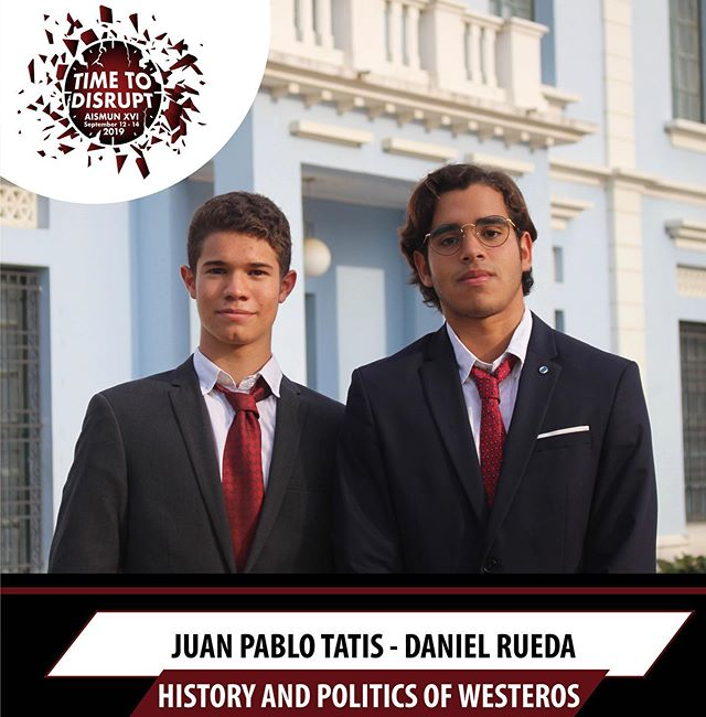 It is our pleasure to announce Juan Pablo Tatis and  Daniel Rueda as the presidents of this year's  NEW fictional committee, History and Politics of Westeros 🙌🏻Swipe left to see the topics ➡️➡️