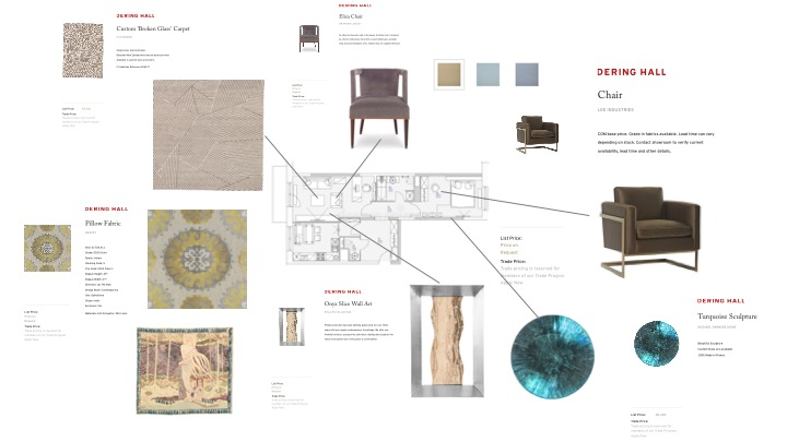 Example of a design schematic using products found on Dering Hall