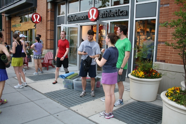 A jogging club meeting outside Lululemon in Colorado