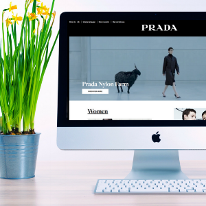 The homepage of the Prada website