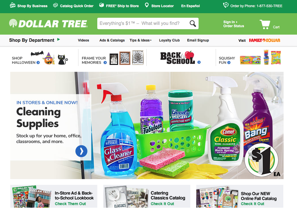 Dollar Tree has an complicated navigation format - with competing navigation tiers and numerous options.