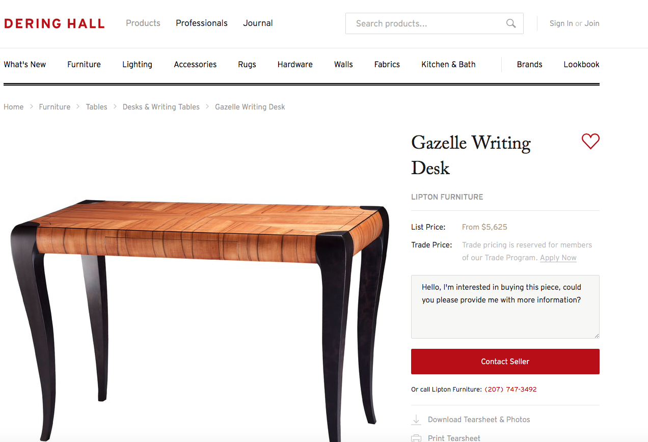 """When someone searches """"contemporary writing desk with slab top,"""" they might click through to this product page by Lipton Furniture"""