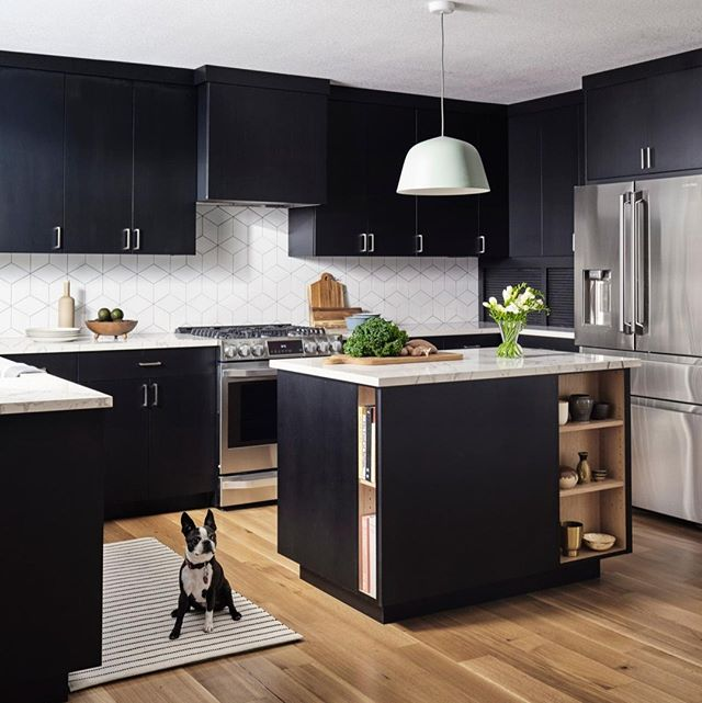 This pup perfectly matches this black-and-white Scandinavian kitchen created by @formandfield. Photo: R. Bradley Knipstein. #DHDesignImage #KitchenOfTheDay #BeDering⁣ #DogsNDecor