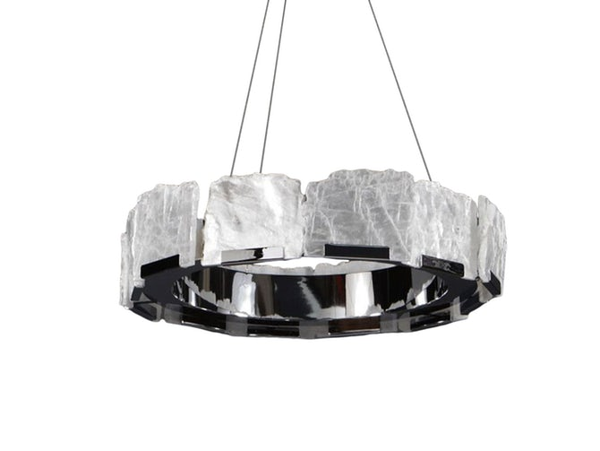 Halo Selenite Chandelier by Ron Dier is price upon request.