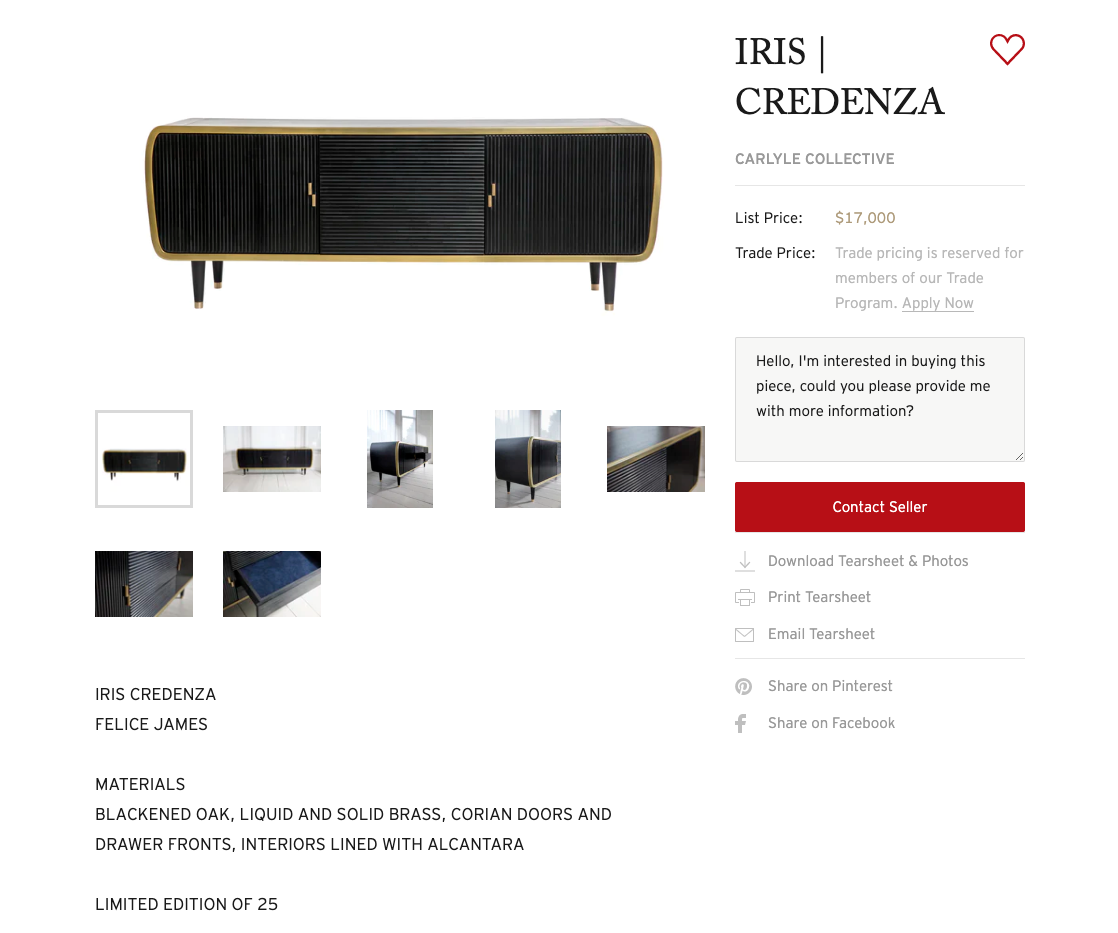 This IRIS | CREDENZA from  Carlyle Collective  is a limited edition item of only 25.