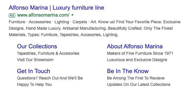 """Alfonso Marina  uses phrases like """"hand made luxury"""" and """"finest materials"""" to attract visitors through their ads."""