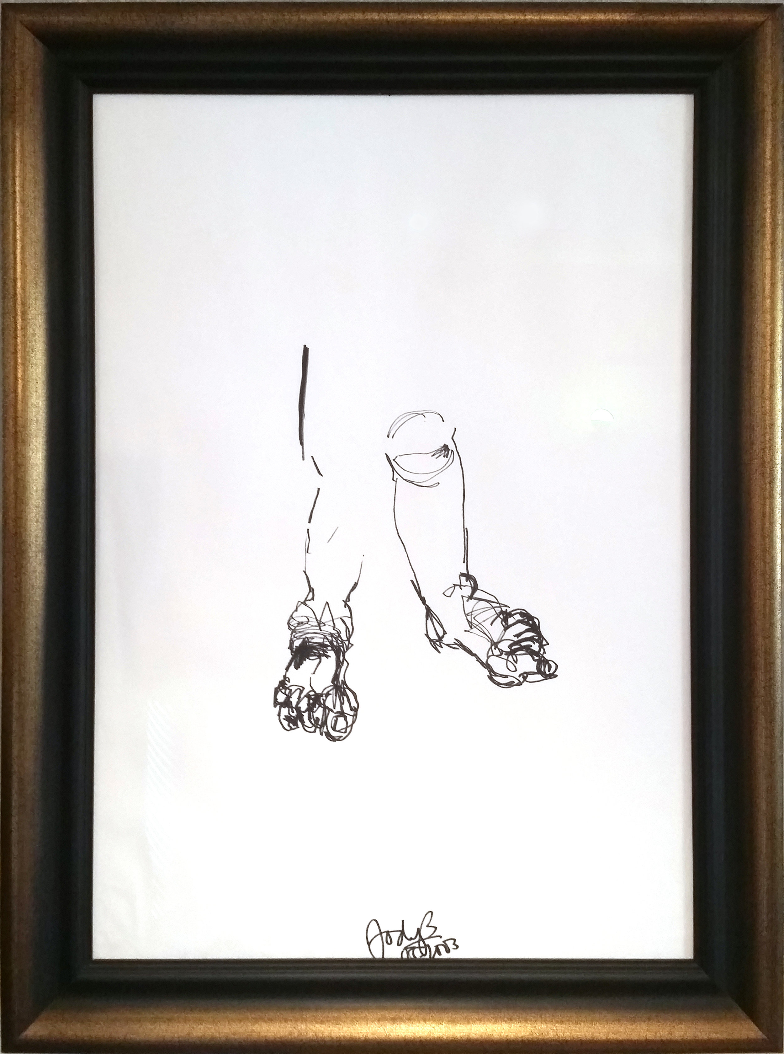 MY FEET - 115 x 85 cm | Edding & ink on paper | Custom framedFinding ground, whilst life is being thoroughly experienced - Self portrait.