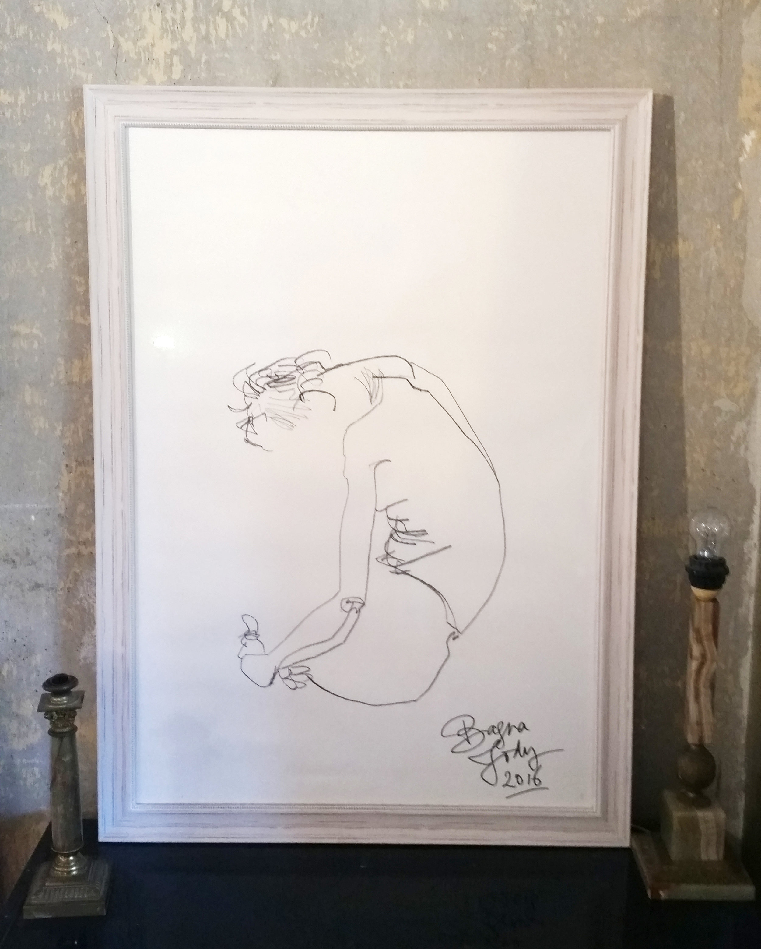 COILED - 106 x 77 cm |Siberian on paper | Custom framedSelf portrait caressing and being.