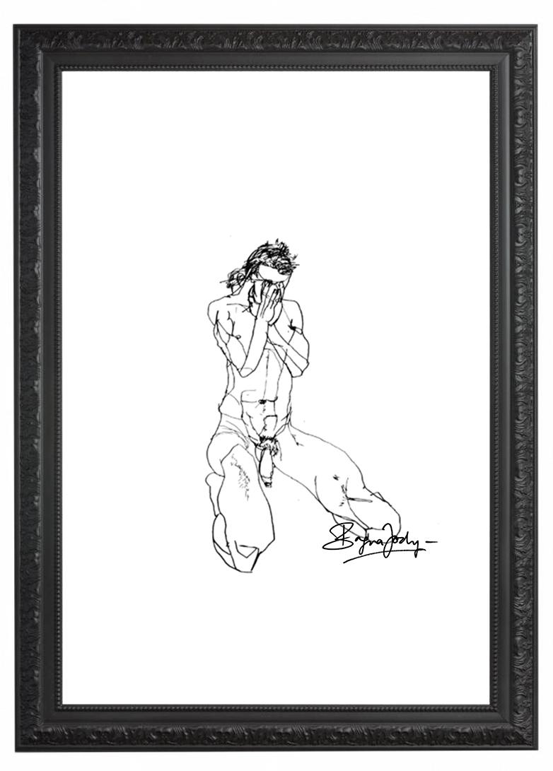 SELF PORTRAIT - 65 x 50 cm |Edding on paper | Custom framedAnatomy of my soul.