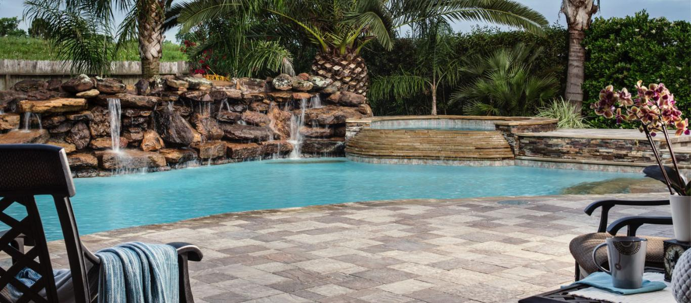 Concrete Paver Pool Surround and Patio - Image courtesy of Belgard