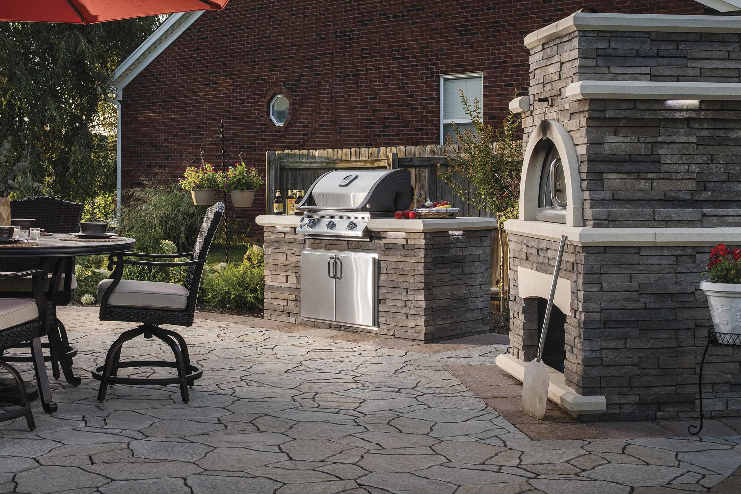 Outdoor Kitchen Design Hardscaping With Concrete Patio Pavers