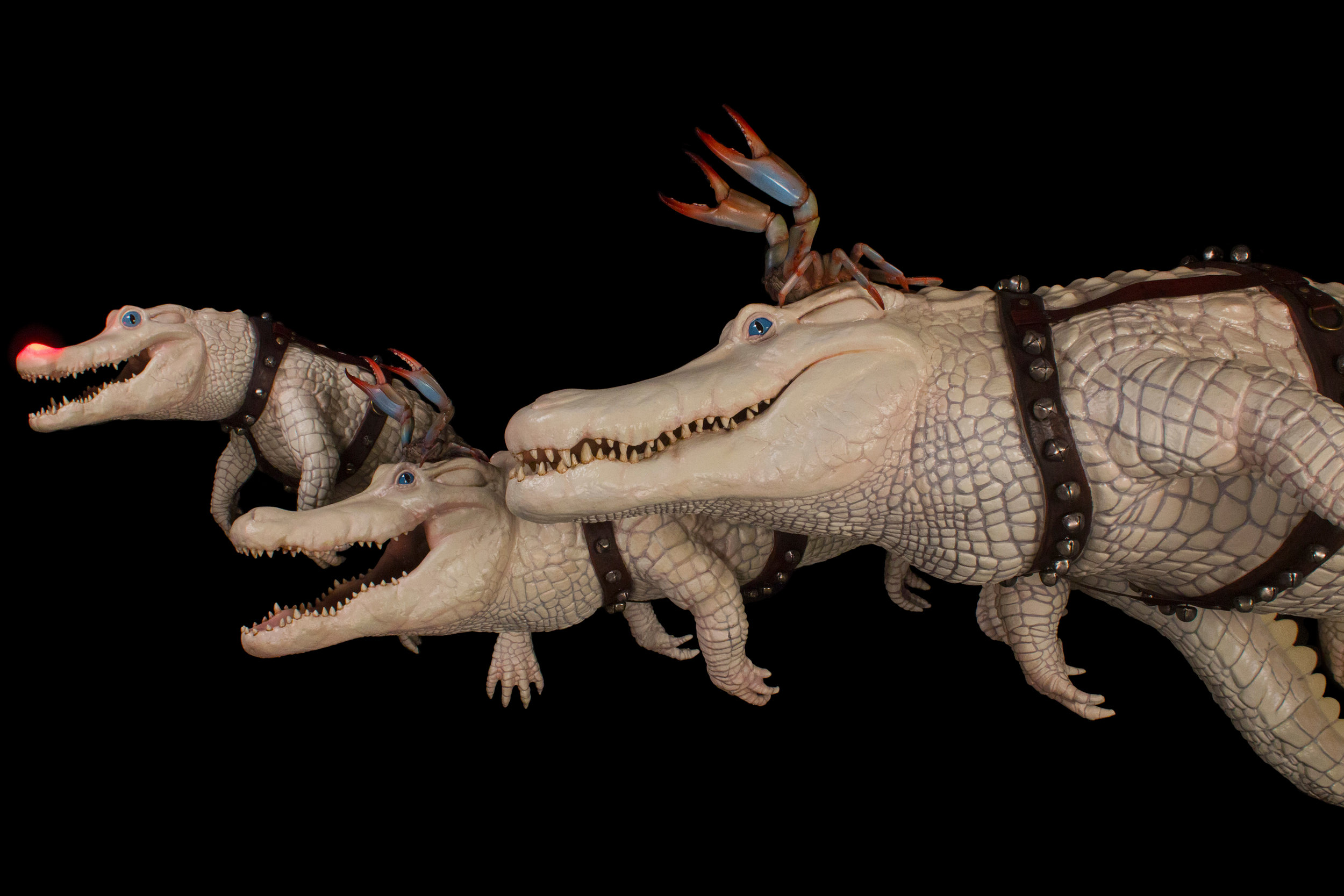 These gators served as reindeer for Cajun Santa in a Louisiana themed Christmas display
