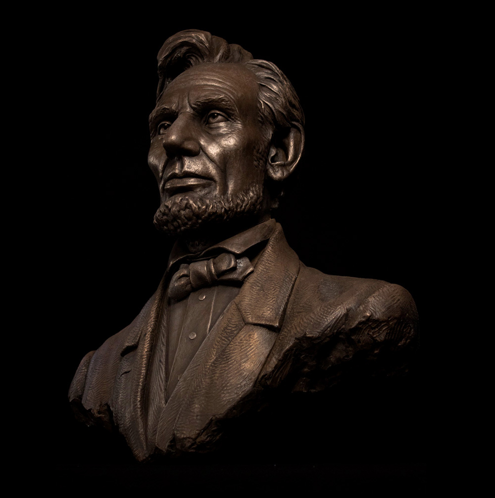 this abraham lincoln bust was based on romaire studios' work for disneyland's  great moments with lincoln  attraction
