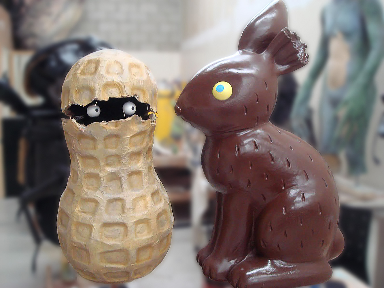 animatronic characters Peanut and Bunny appeared in a reese's candy commercial