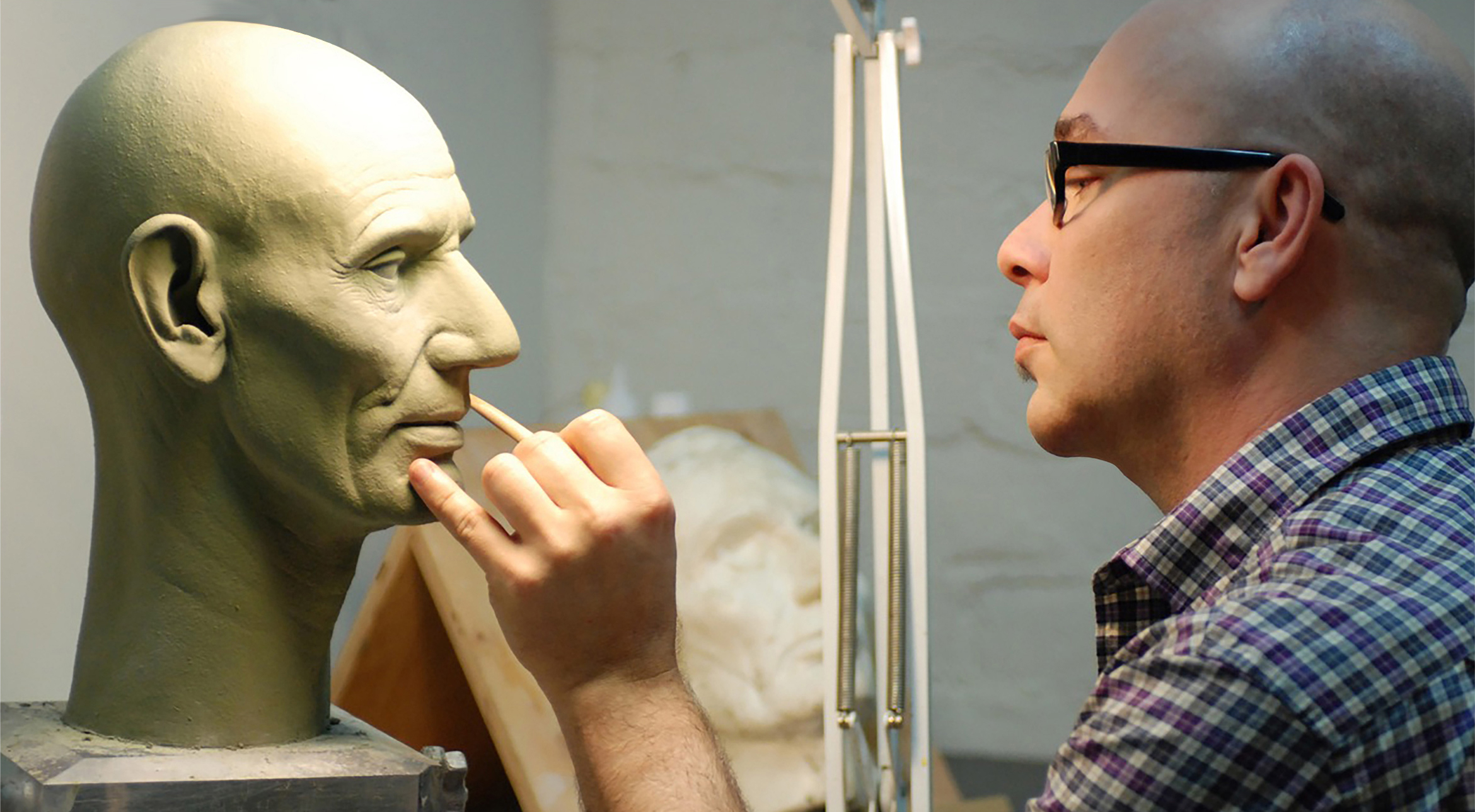 """Lee Romaire sculpting Abraham Lincoln for """"The Walt Disney Story featuring Great Moments with Mr. Lincoln"""", Disneyland"""