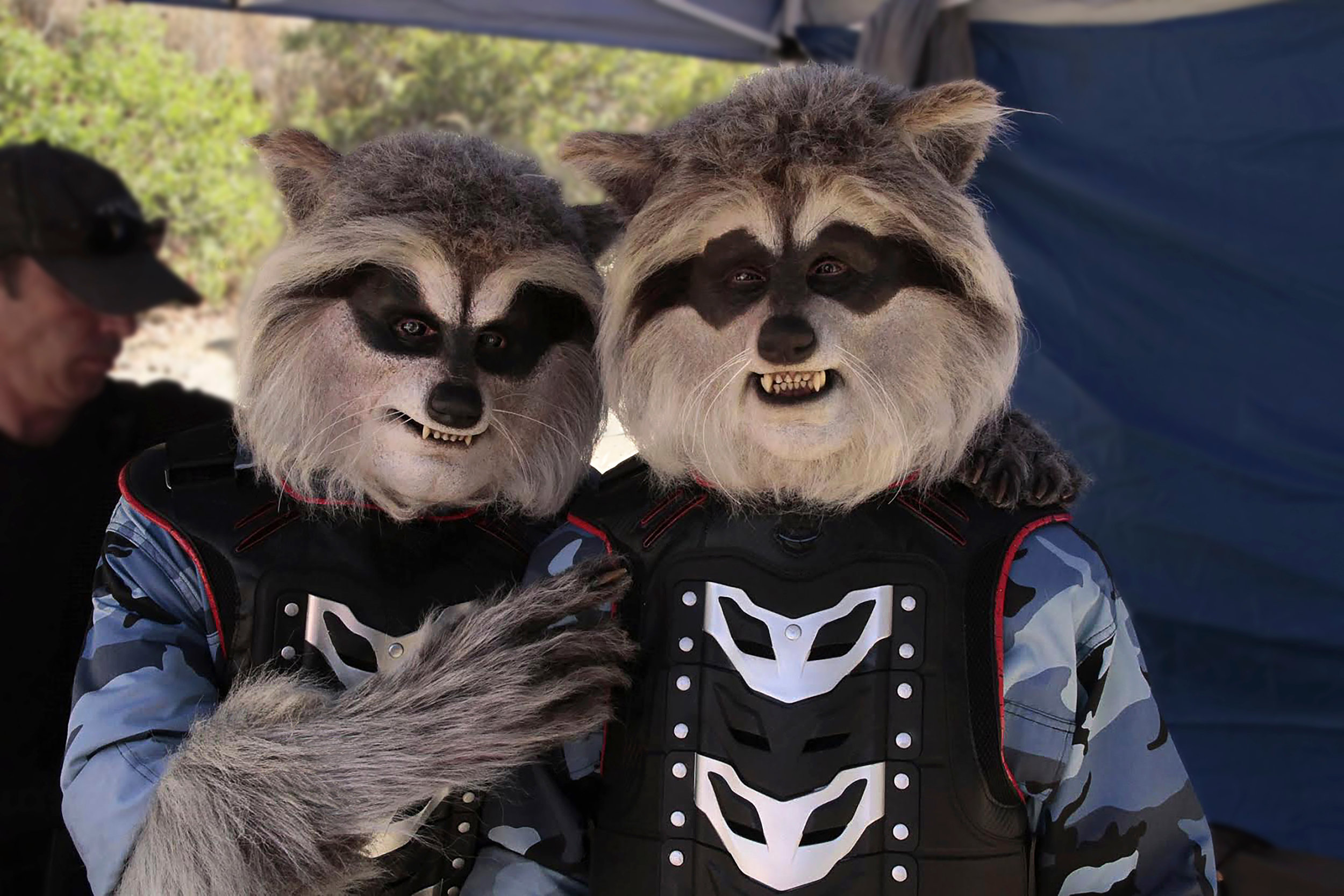 """John alexander and david st. pierre donned these """"mutant raccoon"""" soldier suits for a disney tv show"""