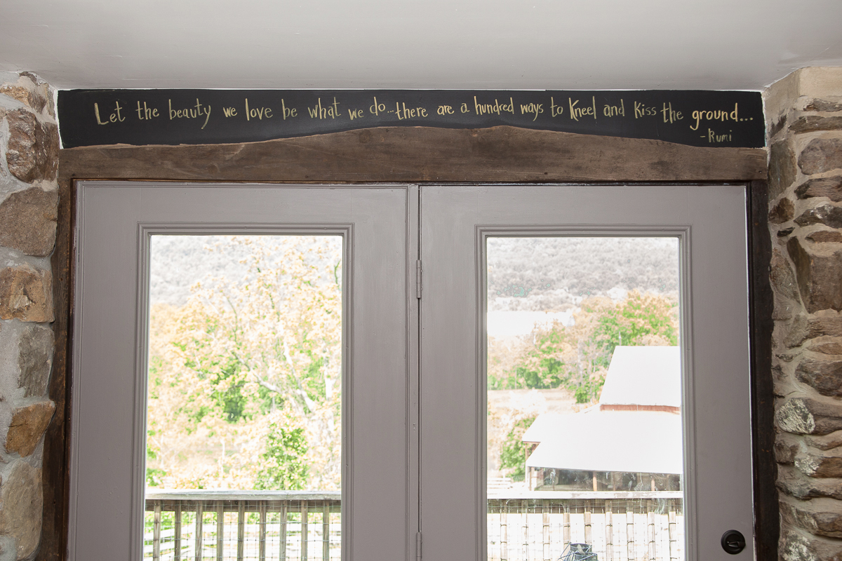The quote from Rumi written above the back French doors perfectly reflects Shannon's spirit